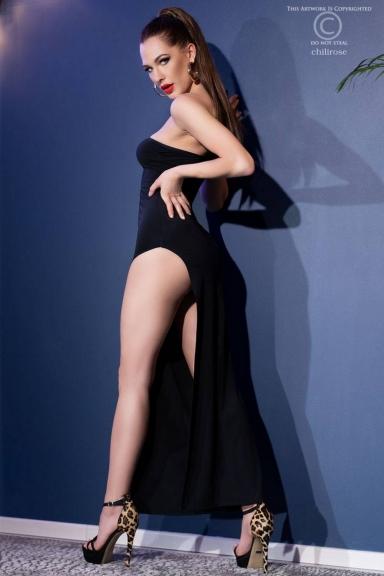 Robe longue une bretelle fendue noire - Chilirose