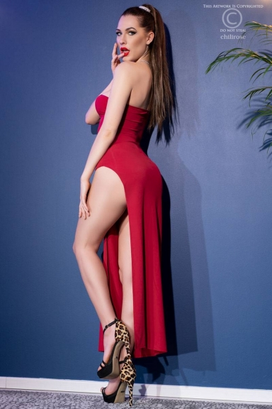 Robe longue une bretelle fendue rouge - Chilirose