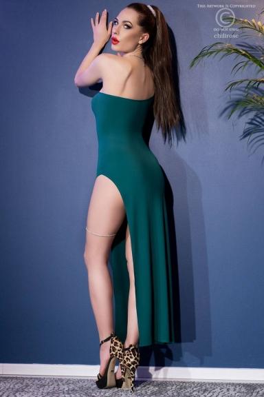 Robe longue une bretelle fendue émeraude - Chilirose
